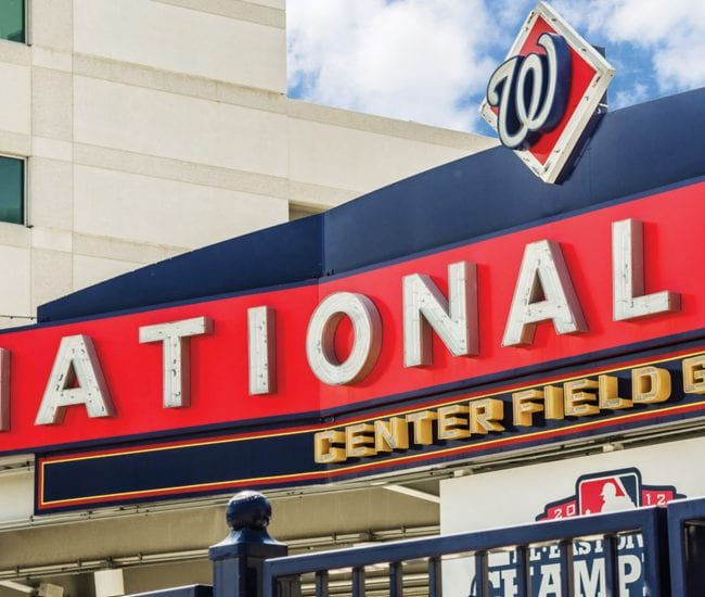 closeup view of centerfield gate at Nationals Stadium in DC