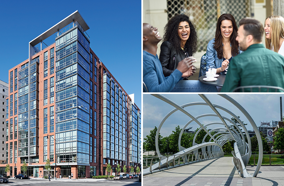 photo collage with exterior shot of Parc Riverside apartments in Navy Yard on left, laughing group of people having coffee on top right, and pedestrian bridge by Nationals stadium on lower right