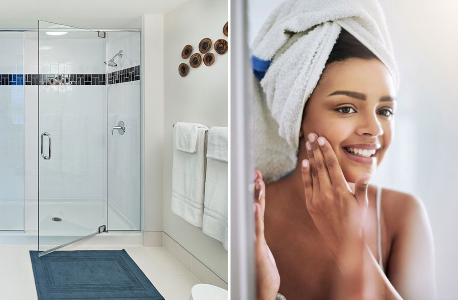 split photo of shower stall in luxury apartment on left and woman rubbing face with towel on head after showering