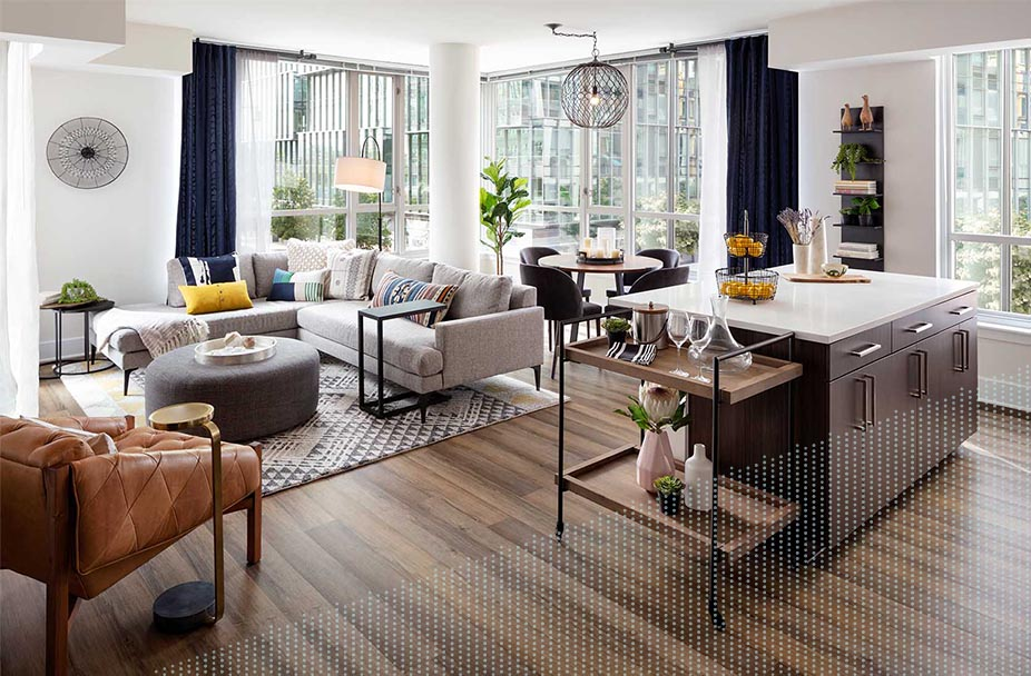 daytime photo of a living room at Parc Riverside apartments in Navy Yard DC with floor-to-ceiling windows