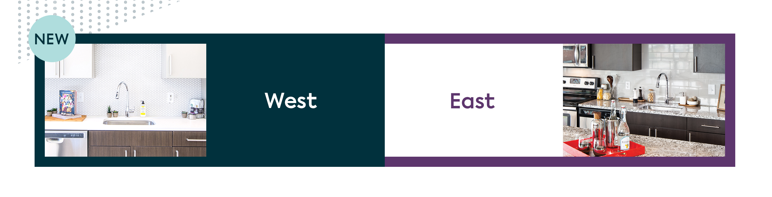 split image with the photo of kitchen with white counters, white cabinets on top and dark cabinets on bottom and the word, West in a greenish blue rectangle and a circle with the word, New overlaid on top to the left, and on the right is the word, East set in purple on white background with a purple border next to a photo of a kitchen with quartz counters and dark cabinets top and bottom