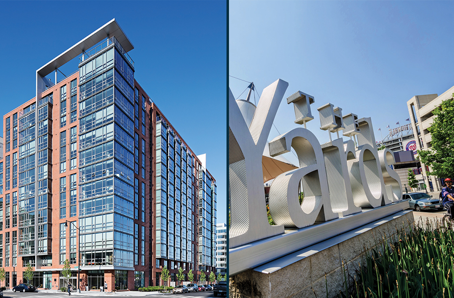 split image with a photo of the exterior of Parc Riverside apartments in Navy Yard DC on the left and a closeup of The Yards monument sign and Nationals park in the background on the right