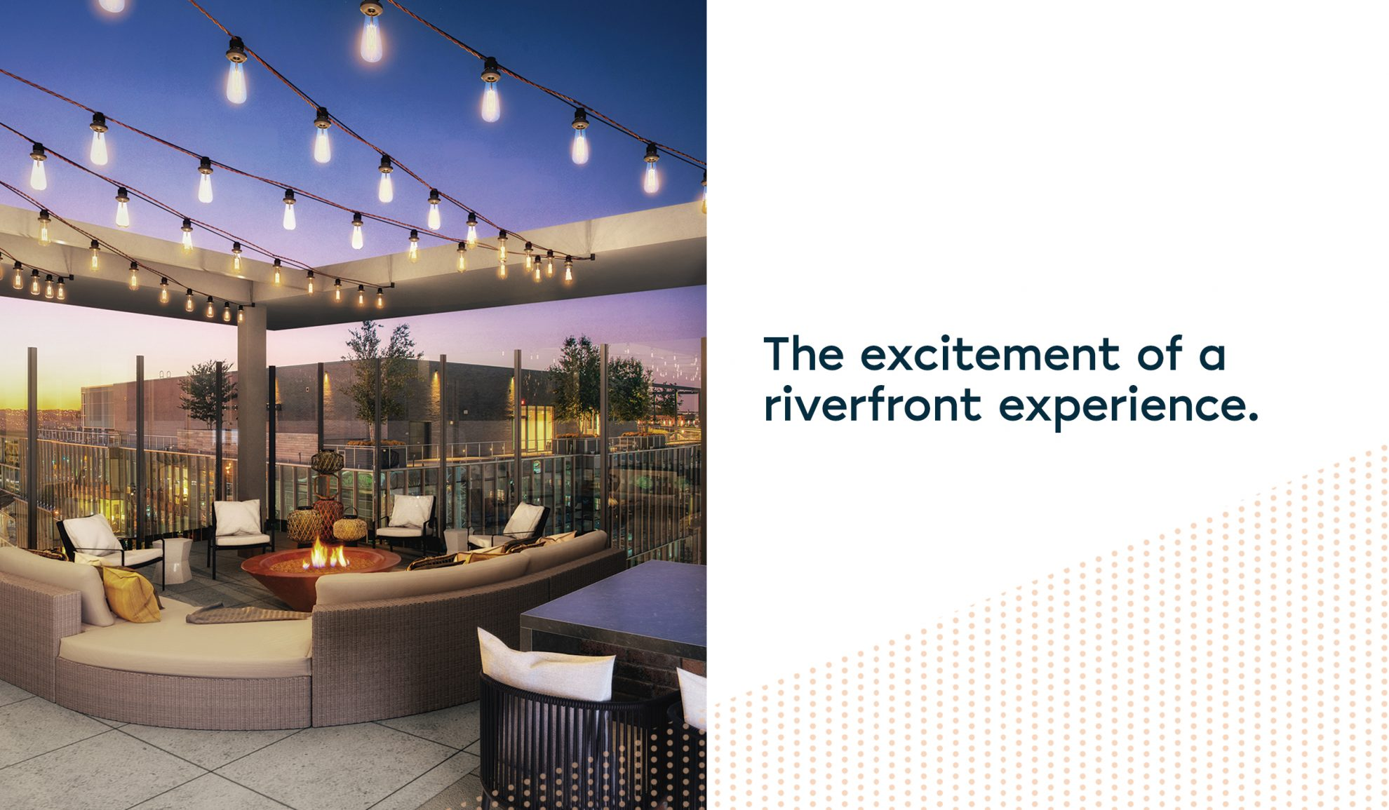 split image with rendering of rooftop fir pit lounge at Parc Riverside apartments in Navy Yard on the left and a white rectangle with blue text that reads, The excitement of a riverfront experience. on the right.