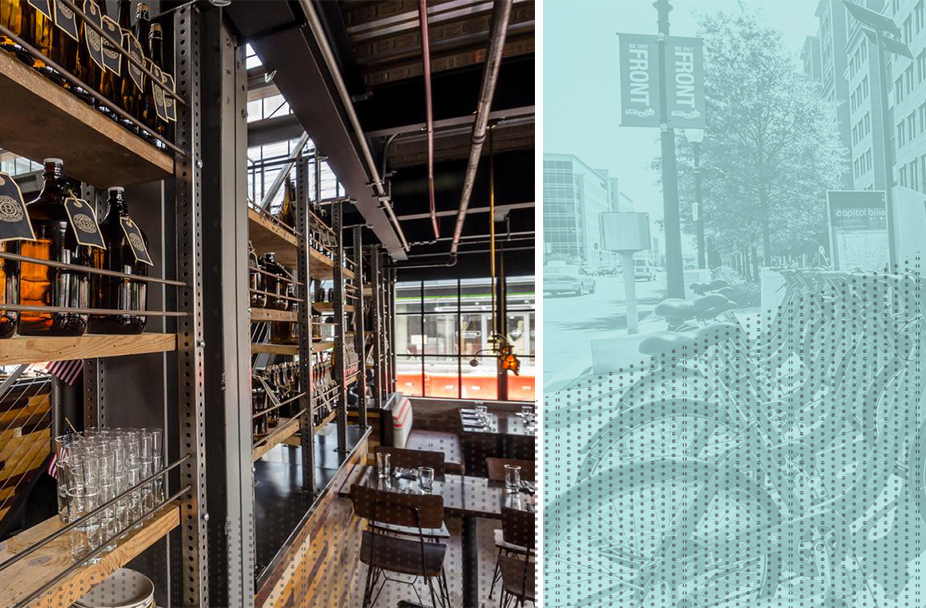 split image with the interior of Bluejacket Brewery on the left and a photo of a street in Navy Yard DC with a Capital Bikeshare station in the foreground and photo overlaid with teal and a gray polka dot pattern