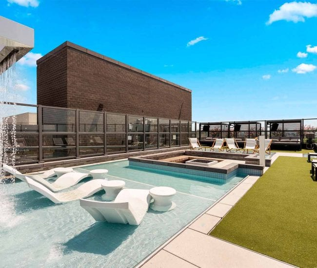 Rooftop wading pool with private cabanas