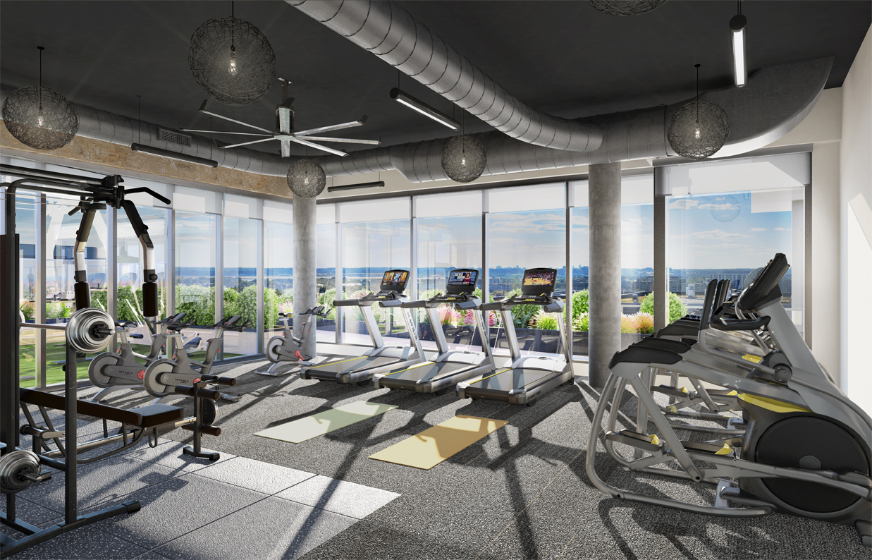 rendering of the new fitness center at Parc Riverside apartments in Navy Yard with rows of fitness machines with large windows throughout looking out onto DC skyline and outdoor grassy area.