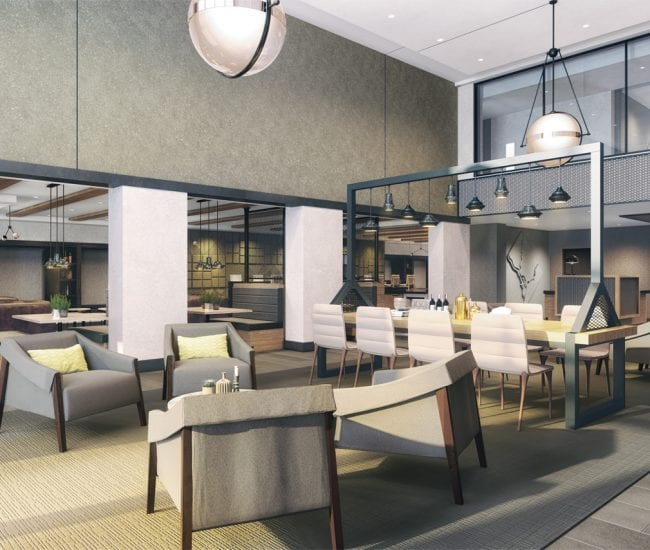 rendering of the lobby area at Parc Riverside apartments in Navy Yard DC with a mix of modern furniture and lighting and a white, grey and beige color scheme.