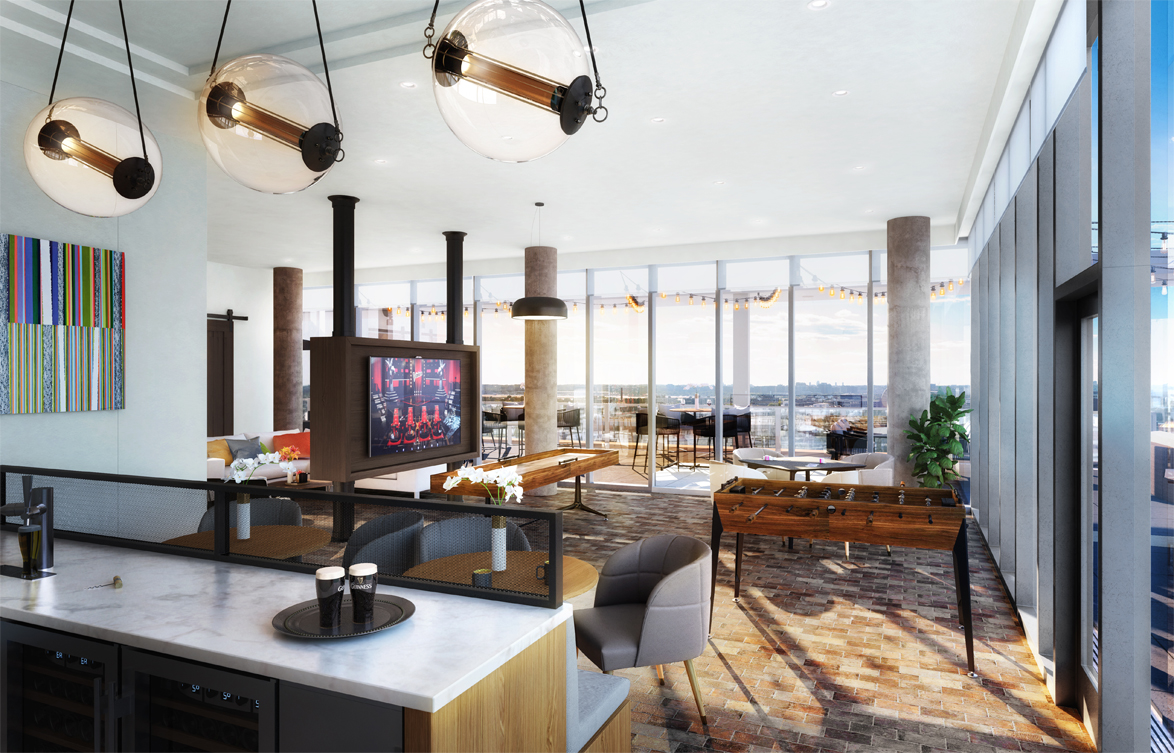 rendering of the resident rooftop clubroom at Parc Riverside apartments with large TV in center, shuffleboard table, foosball table, modern furniture and lighting and windows looking out on DC skyline and outdoor lounge.