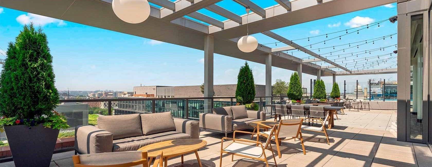 Rooftop with views of the Capitol Building and Washington Monument at Parc Riverside