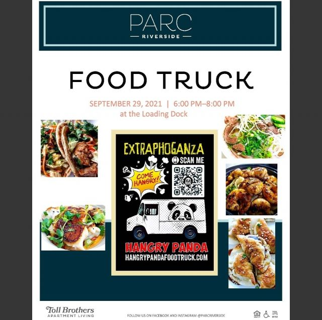 Hungry? Join us for dinner today with Hungry Panda. Scan the QR code to check out the menu.  #ParcRiverside #TollBrosApts #LuxuryLiving #TollLife #NavyYardDC